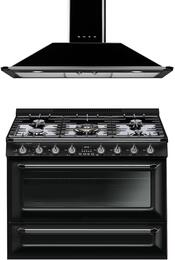"2-Piece Black Kitchen Package with TRU36GGBL 36"" Freestanding Gas Range and KT90BU 36"" Wall Mount Chimney Range Hood"