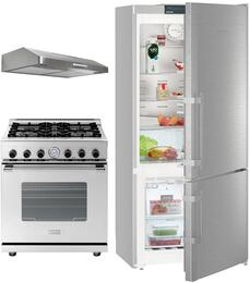 "3-Piece Kitchen Package with CS1400RIM 36"" Counter Depth Bottom Freezer Refrigerator, RN241GPSS 24"" Freestanding Gas Range, and LEVA24SS300B 24"" Under Cabinet Convertible Hood in Stainless Steel"