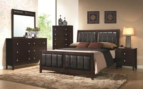 Carlton 202091KEDMCN 5 PC Bedroom Set with Eastern King Size Bed + Dresser + Mirror + Chest + Nightstand in Cappuccino Finish