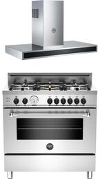 "Stainless Steel 2-Piece Kitchen Package With MAS365GASXT 36""  Gas Freestanding Range and KG36CONX 36"" Wall Mount Range Hood"