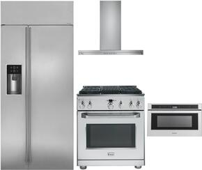 """4-Piece Stainless Steel Kitchen Package with ZISS420DKSS 42"""" Side by Side Refrigerator, ZDP364NRPSS 36"""" Freestanding Dual Fuel Range, ZV800SJSS 36"""" Wall Mount Convertible Hood, and ZWL1126SJSS 24"""" Microwave Drawer"""