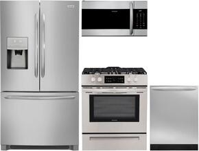 "4-Piece Stainless Steel Kitchen Package with FGHB2868TF 36"" French Door Refrigerator, FGEF3036TF 30"" Freestanding Electric Range, FGID2466QF 24"" Fully Integrated Dishwasher and FGMV176NTF 30"" Over-the-Range Microwave"