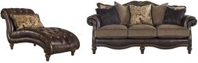 Winnsboro Collection 55602SCL 2-Piece Living Room Set with Sofa and Chaise Lounge in Vintage