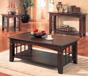 Abernathy Collection 700008SET 3 PC Living Room Table Set with Coffee Table + End Table + Sofa Table in Merlot Finish