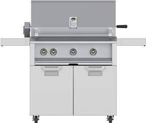 """Aspire Series 36"""" Liquid Propane Grill with ECD36SS Tower Grill Cart with Two Doors, in Steeletto Stainless Steel"""