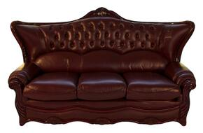 988BURGS3SET Traditional Style Sofa in Burgundy with Mahogany Wood Finish + Loveseat + Chair