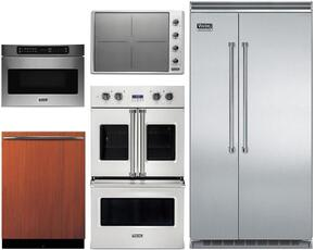 "5-Piece Stainless Steel Kitchen Package with VCSB5483SS 48"" Side by Side Refrigerator, VDOF730SS 30"" Double Wall Oven, VIC5304BST 30"" Induction Cooktop, VMOD5240SS 24"" DrawerMicro, and FDW302 24"" Dishwasher"
