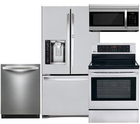 "4-Piece Stainless Steel Kitchen Package with LFXS27566S 36"" French Door Refrigerator, LRE3083ST 30"" Freestanding Electric Range, LDF7774ST 24"" Fully-Integrated Dishwasher and LMV1683ST 30"" Over-the-Range Microwave"