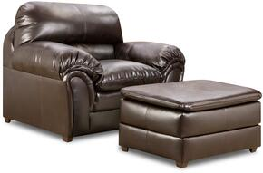 Vintage Riverside 6159-0109  2 Piece Set including Chair and Ottoman  Plush Padded Arms Covered in a Bonded Leather