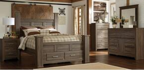 Juararo King Bedroom Set with Poster Storage Bed, Dresser, Mirror and Nightstand in Dark Brown
