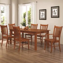 Marbrisa 100621SET 7 PC Dining Room Set with Table + 4 Side Chairs + 2 Arm Chairs in Warm Medium Brown Finish