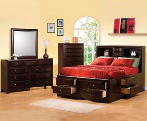 Phoenix Collection 200409KESET 4 PC Bedroom Set with Eastern King Size Bed + Dresser + Mirror + Chest in Deep Cappuccino Finish