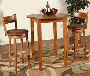 Sedona Collection 1278ROBT2SS 3-Piece Bar Table Set with Pub Table and 2 Swivel Stools in Rustic Oak Finish