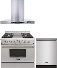 "3-Piece Package With KRG3609U 36"" Gas Range, KRH3604U 36"" Under Cabinet Ducted hood and K6502D 24"" Dishwasher in Stainless Steel"