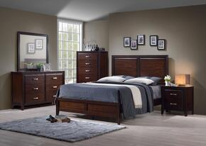 1006-5052/68SQ Agathis Bedroom Set Including Queen Bed, Dresser, Mirror, Chest and Nightstand with Distressed Detailing, Molding Detail and Tapered Legs in Merlot