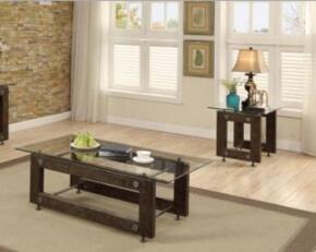 "70427 Collection 704277 24"" Industrial End Table and Coffee Table in Black and Brown Wood Finish"
