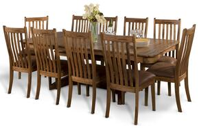 Sedona Collection 1121RODT10C 11-Piece Dining Room Set with Trestle Extension Table and 10 Chairs in Rustic Oak Finish