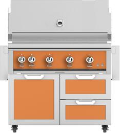 "42"" Freestanding Natural Gas Grill with GCR42OR Tower Grill Cart with Triple Doors, in Citra Orange"