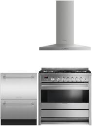 "3 Piece Stainless Steel Kitchen Package with OR36SDBMX1 36"" Gas Freestanding Range, DD24DI7 24"" DishDrawer and Free HC36PHTX1 36"" Wall Mount Hood"