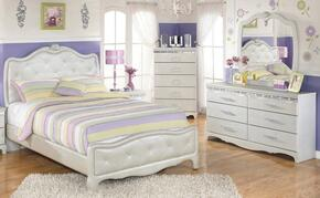 Zarollina Twin Bedroom Set with Upholstered Bed, Dresser, Mirror and Nightstand in Silver