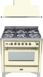 "2-Piece Antique White Kitchen Package with UM906DMPAX 36"" Freestanding Dual Fuel Range (Chrome Trim, 6 Burners, Timer) and UAM90A 36"" Wall Mount Range Hood"