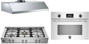"3-Piece Stainless Steel Kitchen Package with CB36500X 36"" Gas Cooktop, MASSO30X 30"" Electric Single Wall Oven, and KU36PRO1XV 36"" Wall Mount Convertible Hood"