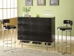 Gitel 70950T2C 3 PC Bar Table Set with Bar Table + 2 Chairs in Chrome and Black Finish