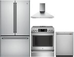 "4-Piece Stainless Steel Kitchen Package with CWE23SSHSS 36"" French Door Refrigerator, CHS985SELSS 30"" Slide In Electric Range, JVW5301SJSS 30"" Wall Mount Hood, and CDT835SSJSS 24"" Fully Integrated Dishwasher"