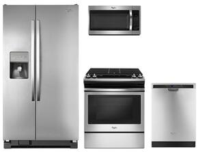 "4-Piece Kitchen Package with WRS325FDAM 36"" Side by Side Refrigerator, WEG515S0FS 30"" Slide-in Gas Range, WDF560SAFM 30"" Over The Range Microwave Oven and WDF560SAFM 24"" Built in Dishwasher in Stainless Steel"
