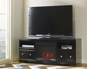 "Shay W27168SET Entertainment Set with 63"" LG T.V. Stand and Fireplace Insert in Black Finish"