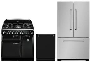 "3-Piece Kitchen Package with ALEG36DFBLK 36"" Freestanding Dual Fuel Range, AMPROFD23SS 36"" Counter Depth French Door Refrigerator, and ALTTDWBLK 24"" Built In Fully Integrated Dishwasher in Black"