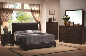 Conner 300261QSET 5 PC Bedroom Set with Queen Size Platform Bed + Dresser + Mirror + Chest + Nightstand in Cappuccino Finish