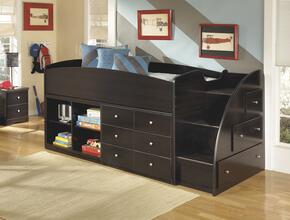 Embrace B239-68T-17-19-13R Twin Loft Bed with Loft Bed Top, Right Storage with Steps, Loft Bookcase and Drawer Storage in Merlot