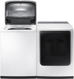 """White Laundry Pair with WA45K7600AW 27"""" Top Load Washer and DV45K7600GW 27"""" Front Load Gas Dryer"""