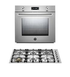 "Professional F30PROXT 30"" Single Electric Wall Oven 2 Piece Stainless Steel Kitchen Package with QB36600X 36"" Gas Cooktop"