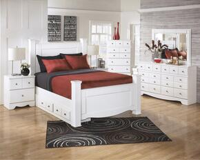Weeki Collection B270SIG6PCKPS6DDLM22DN5DCKIT1 6-Piece Bedroom Sets with King Poster Bed, Dresser, Mirror, 2x Nightstand and Chest in White