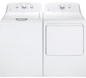 "White Laundry Pair with GTW330ASKWW 27"" Top Load Washer and GTX33GASKWW 27"" Front Load Gas Dryer"