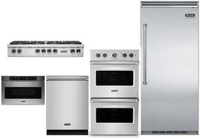 "5-Piece Stainless Steel Kitchen Package with VCRB5363RSS 36"" All Refrigerator, VRT5488BSS 48"" Gas Cooktop, VEDO5302SS 30"" Electric Double Wall Oven, VMOD5240SS 24"" Undercounter DrawerMicro, and FDW302WS 24"" Dishwasher"