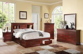 Louis Philippe III 24377EK5PC Bedroom Set with  Eastern King Size Bed + Dresser + Mirror + Chest + Nightstand in Cherry Finish