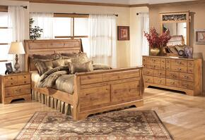 Bittersweet King Bedroom Set with Sleigh Bed, Dresser, Mirror and Nightstand in Light Wood