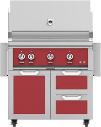 "36"" Freestanding Natural Gas Grill with GCR36RD Tower Grill Cart with Triple Doors, in Matador Red"