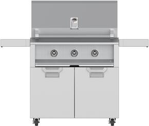 """Aspire Series 36"""" Natural Gas Grill with ECD36SS Tower Grill Cart with Two Doors, in Steeletto Stainless Steel"""