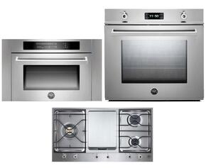 "Professional 3-Piece Stainless Steel Kitchen Package with F30PROXE 30"" Single Electric Wall Oven, PM3630GX 36"" Gas Cooktop and SO24PROX Built In Microwave"