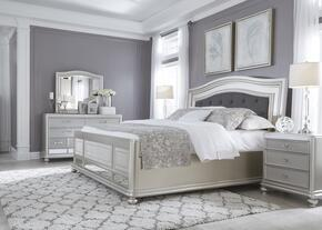 Coralayne Queen Bedroom Set with Upholstered Panel Bed, Dresser, Mirror and Single Nightstand in Silver