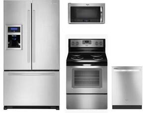 """4-Piece kitchen Package with GI0FSAXVY 36"""" French Door Refrigerator, WFC310S0ES 30"""" Electric Freestanding Range, WMH73521CS 30"""" Microwave Oven and WDT720PADM 24"""" Fully Integrated Dishwasher in Stainless Steel"""