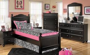 Jaidyn Full Bedroom Set with Youth Poster Bed, Dresser, Mirror and Nightstand in Black