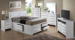 G1570IQSB4SET 6 PC Bedroom Set with Queen Size Storage Bed + Dresser + Mirror + Chest + Nightstand + Media Chest in White Finish