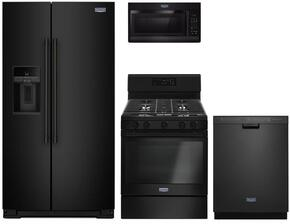 "4-Piece Kitchen Package with MSS26C6MFB 36"" Side by Side Refrigerator, MGR6600FB 30"" Gas Freestanding Range, MMV1174FB 30"" Over The Range Microwave oven and MDB4949SDE 24"" Built in Dishwasher in Black"