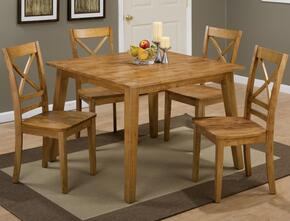 Simplicity Collection 35242XSET 5 PC Dining Room Set with Square Dining Table + 4 X-Back Chairs in Honey Finish