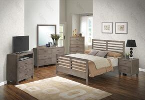 G1205CTB2CHDMNTV 6 Piece Set including Twin Bed, Chest, Dresser, Mirror, Nightstand and Media Chest  in Gray